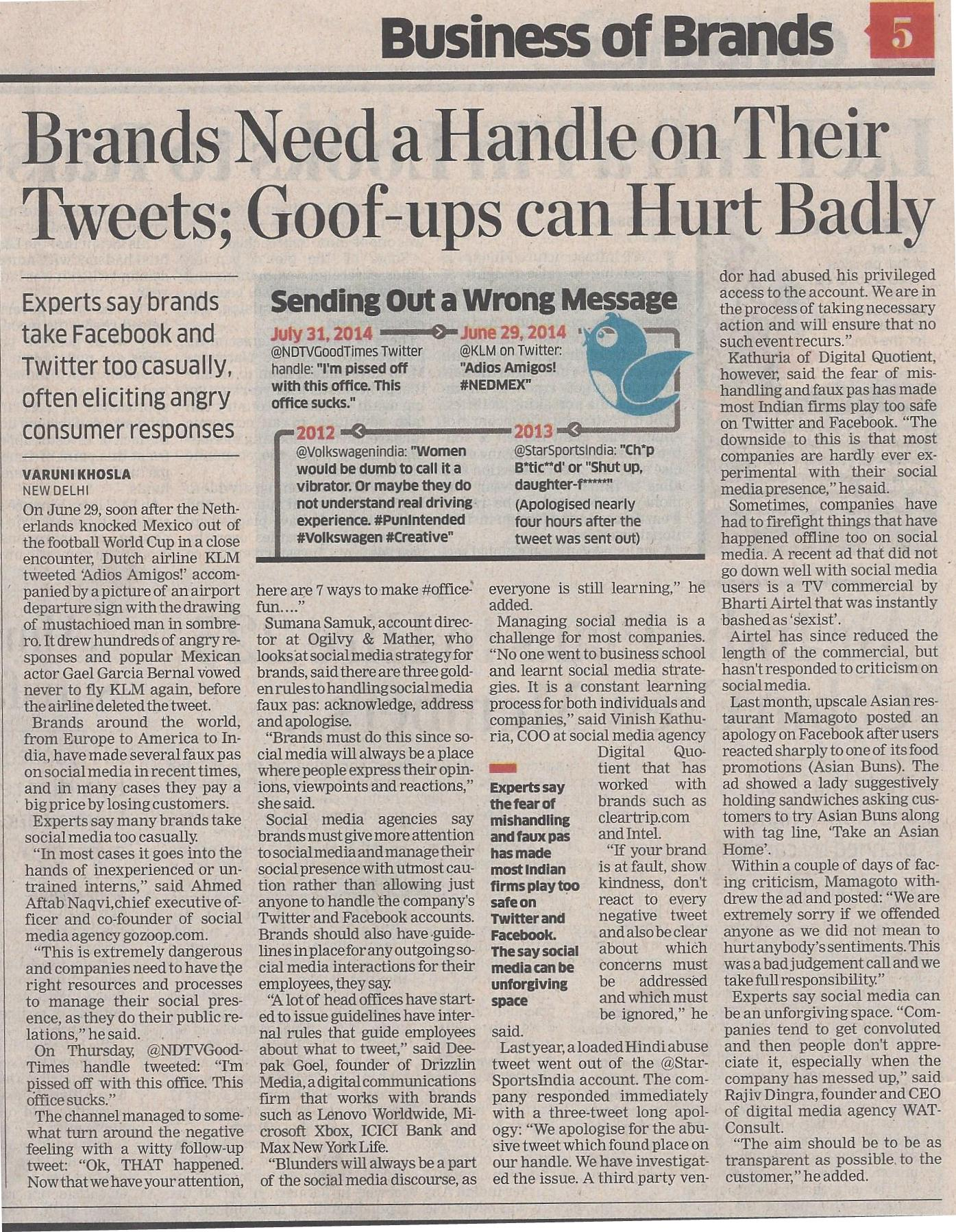 The Economic Times, 4 August, pg. 5